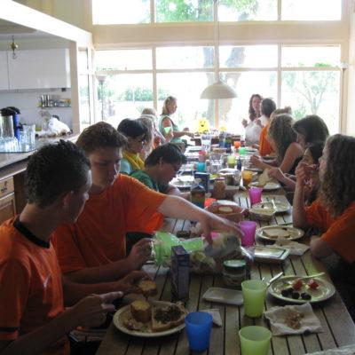 Lunch tijdens de trainingen
